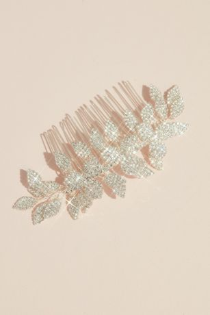 Pave Crystal Embellished Leafy Hair Comb