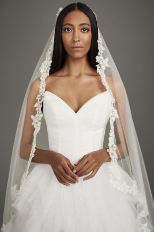 Corded Lace Applique Square-Cut Walking Veil