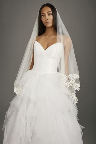 Corded Lace Applique Mid-Length Veil