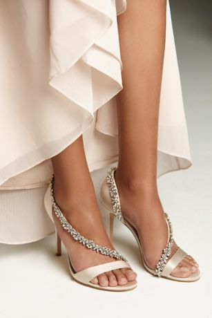 White by Vera Wang Ivory Sandals (High-Heeled Sandals with Crystal Flower Strap)