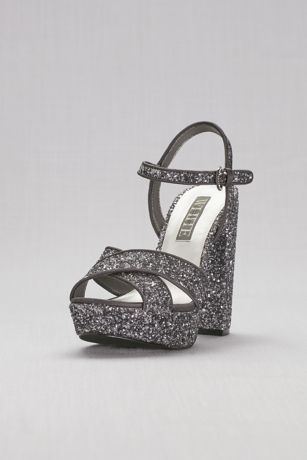 White by Vera Wang Grey Sandals (Crisscross Chunky Glitter Platform Heels)