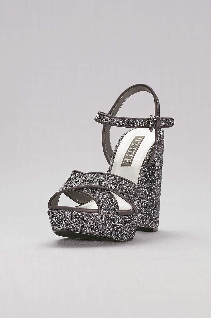 White by Vera Wang Grey Sandals (Crisscross Chunky Glitter Platform Heels) e7ac78622