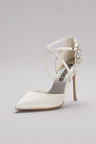 White By Vera Ivory Pumps Pointed Toe Cross Strap Heels With Crystal
