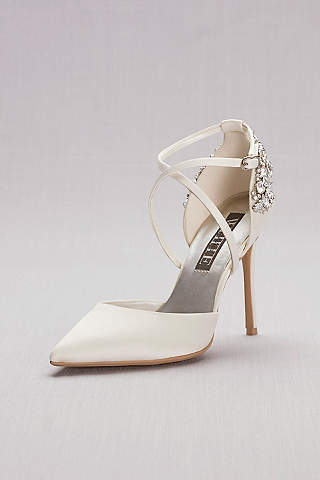 White By Vera Wang Ivory Pumps (Pointed Toe Cross Strap Heels With Crystal