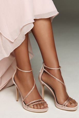 White by Vera Wang Pink Sandals (Strappy Crystal-Trimmed Stiletto Heels with Zipper)