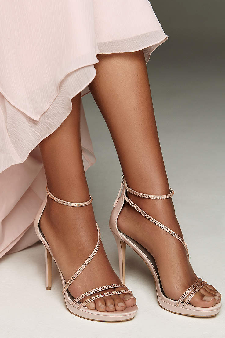 b8b7bb91929025 White by Vera Wang Pink Sandals (Strappy Crystal-Trimmed Stiletto Heels  with Zipper)