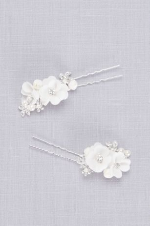 Fabric Flower and Pearl Hair Pin Set