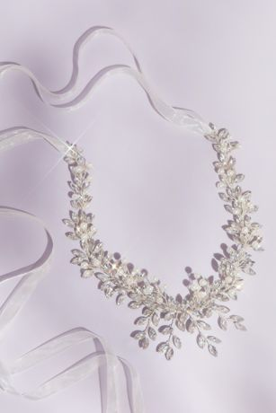 Pearl and Marquise-Cut Crystal Leaves Headpiece