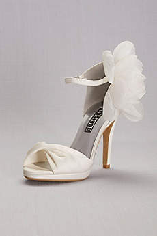 White by Vera Wang Ivory Peep Toe Shoes (Twisted Satin Peep-Toes with Chiffon Flower)
