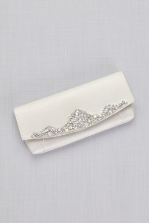 Satin Clutch with Crystal Fan Detailing