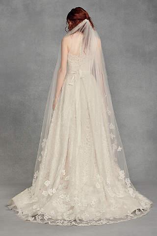 Designer accessories shoes handbags davids bridal floral lace applique chapel veil junglespirit Image collections