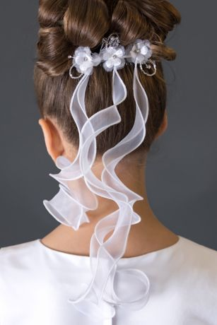 Beaded Flower Comb with Three Ribbons