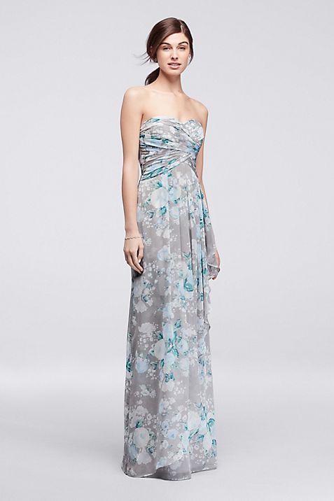 Printed Strapless Crinkle Chiffon Bridesmaid Dress | David\'s Bridal