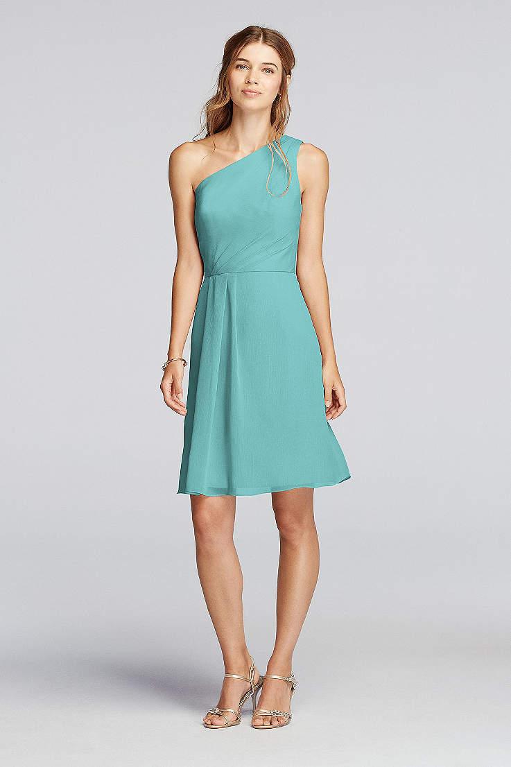 960db485f8 Short One Shoulder Crinkle Chiffon Dress