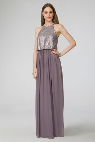 Soft & Flowy;Structured Donna Morgan Long Bridesmaid Dress