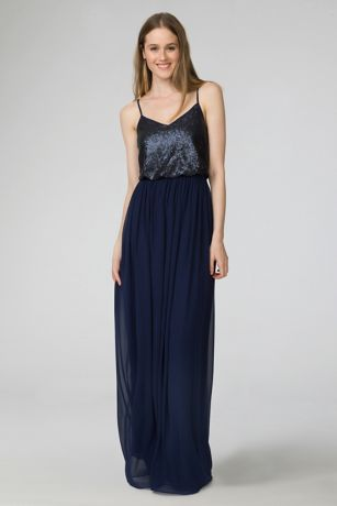 Paige V-Neck Sequin and Chiffon Bridesmaid Dress