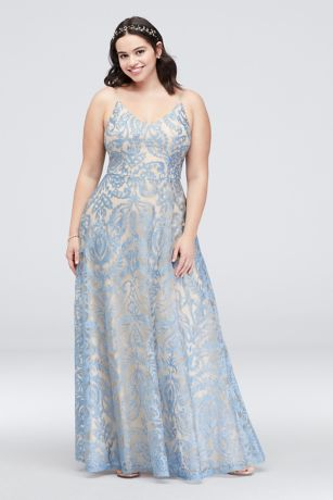 3c6e8624458 Long A-Line Spaghetti Strap Dress - Speechless. NEW. Speechless. Plus Size  Gown with Skinny Straps and Lace Overlay