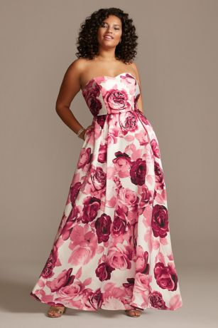 Floral Print Strapless Satin Plus Size Gown