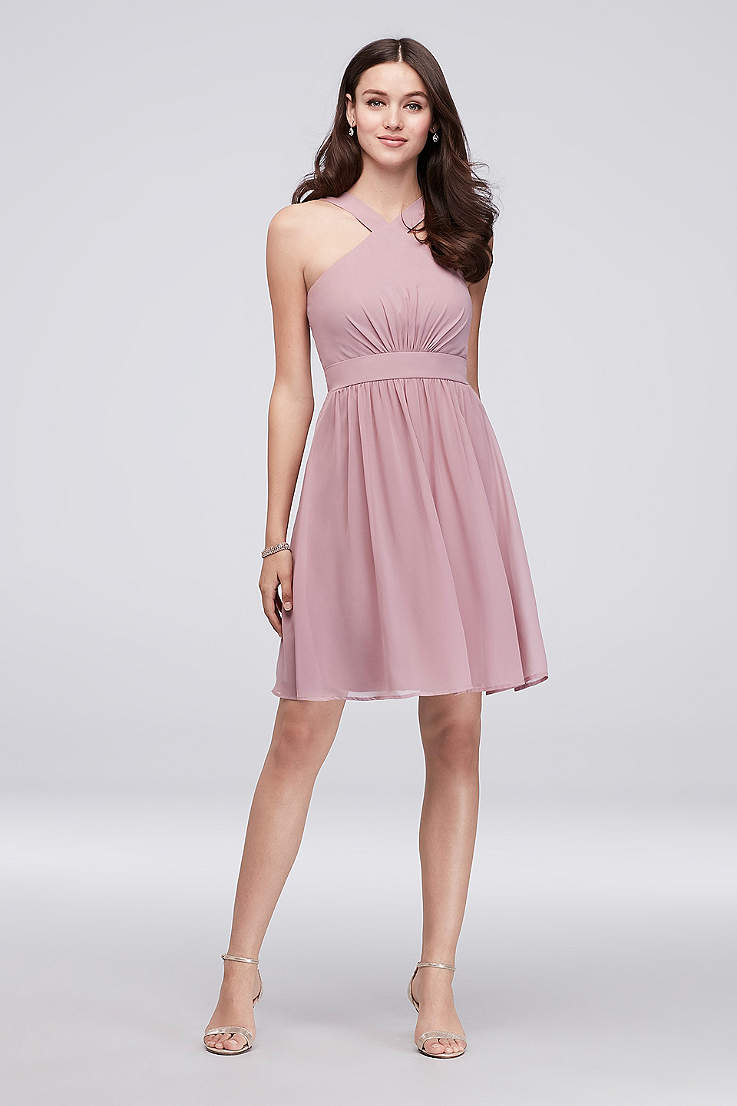 3ea484c4022 Y-Neck Pleated Chiffon Short Bridesmaid Dress