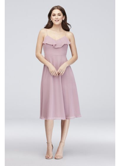 REVERIE. RUFFLED CHIFFON BRIDESMAID MIDI DRESS 78fd0817e