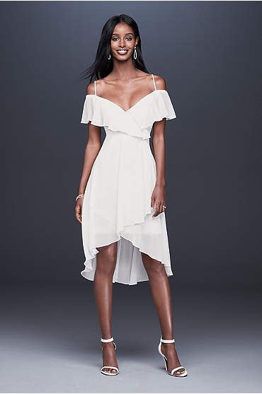 Flounced Cold Shoulder Short Faux-Wrap Dress