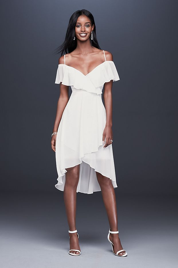 Flounced Cold Shoulder Short Faux-Wrap Dress