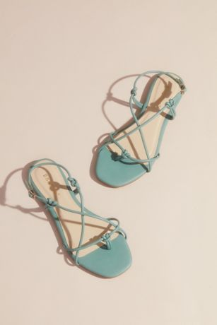Bamboo Green;White Flat Sandals (Vegan Leather Strappy Knot Flat Sandals)