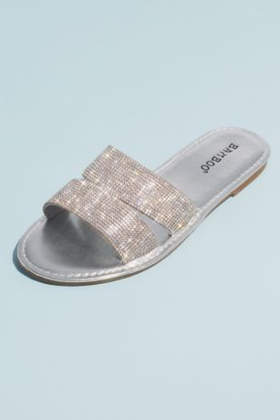 Bamboo Grey;Pink Flat Sandals (Metallic Slide Sandals with Allover Crystal Straps)
