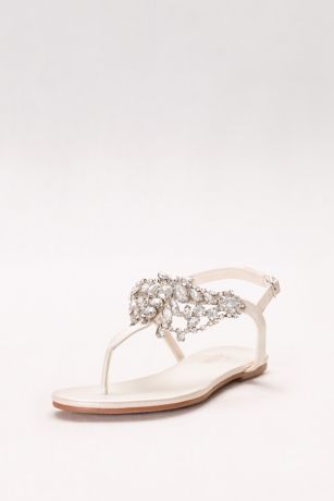 David's Bridal Ivory Flat Sandals (Crystal-Embellished T-Strap Thong Sandals)