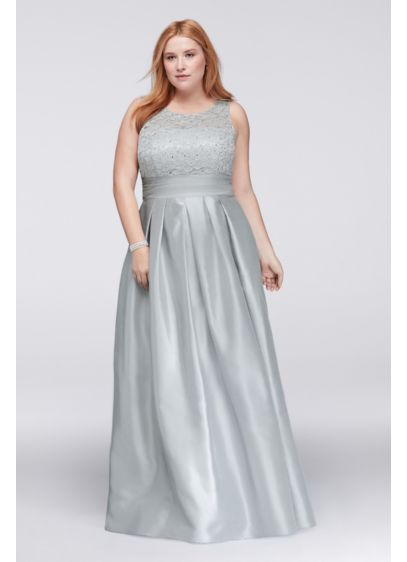 Lace and Satin Sleeveless Plus Size Ball Gown | David\'s Bridal