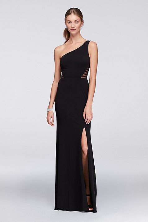 One-Shoulder Jersey Gown with Illusion Sides | David\'s Bridal
