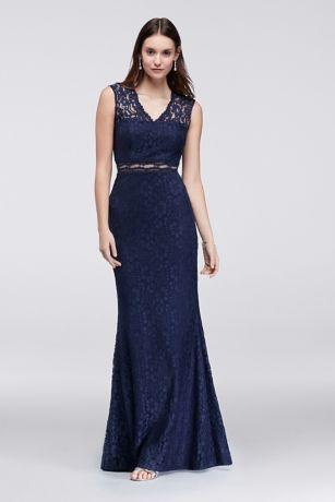 Cap-Sleeve Lace Mermaid Dress with Illusion Waist