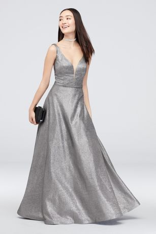 Belted Metallic Ball Gown with Pockets