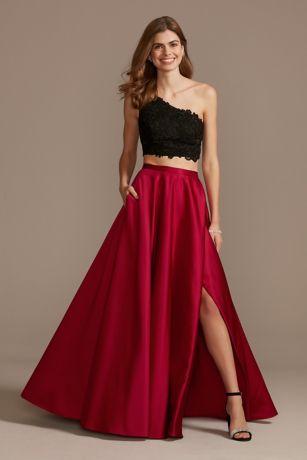 Two Piece Prom Dresses 2 Piece Crop Top Prom Dresses David S Bridal