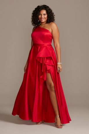 One Shoulder Asymmetric Plus Size Cascade Gown