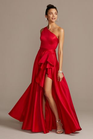 One Shoulder Asymmetric Satin Cascade Gown
