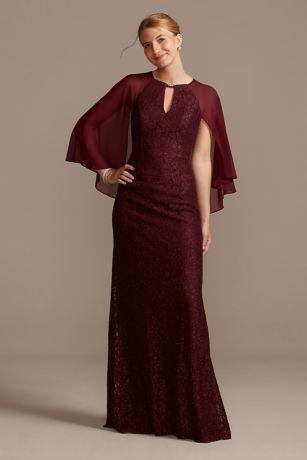Long Sheath Capelet Dress - David's Bridal