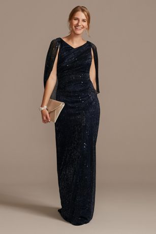 Metallic and Sequin Knit Gown with Chiffon Capelet