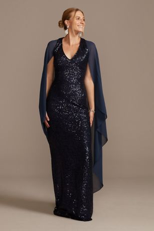 Allover Sequin Gown with Attached Chiffon Capelet
