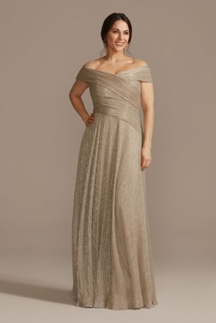 Long A-Line Off the Shoulder Dress - Oleg Cassini