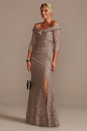 Long Sheath Off the Shoulder Dress - Oleg Cassini