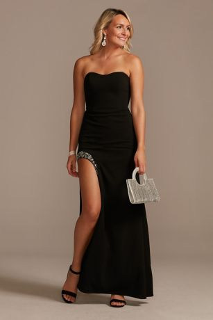 Strapless Crepe Sheath Gown with Embellished Slit