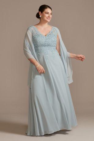 Scalloped Lace V-Neck Chiffon Plus Size Dress