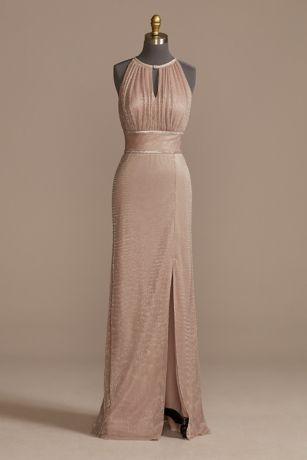 Long A-Line Halter Dress - Oleg Cassini
