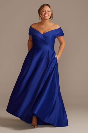 Long Ballgown Off the Shoulder Dress - Oleg Cassini