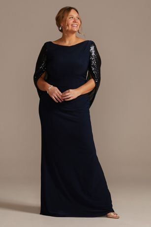 Long Sheath Elbow Sleeves Dress - Oleg Cassini