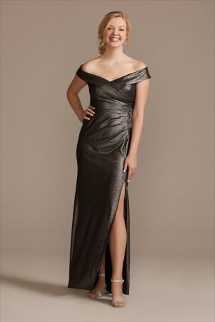 Beaded Ruched Metallic Off-Shoulder Sheath Gown