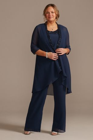Long Jumpsuit 3/4 Sleeves Dress - Oleg Cassini