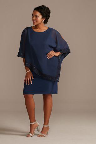 Chiffon Lace-Trimmed Plus Size Capelet Dress