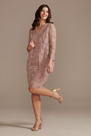 Short Sheath 3/4 Sleeves Dress - Oleg Cassini